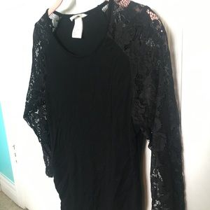 H&M Mama Maternity Black Top Lace Sleeves Size S